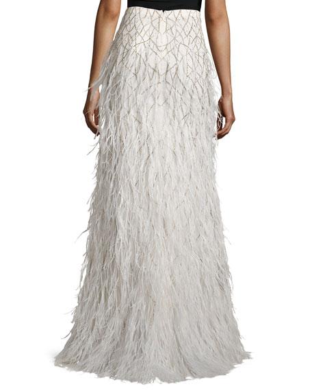 webbed feather maxi skirt