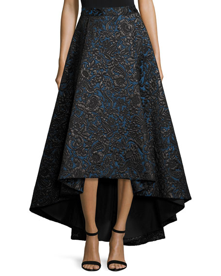 Alice + Olivia Floral Jacquard High-Low Skirt, Black/Blue