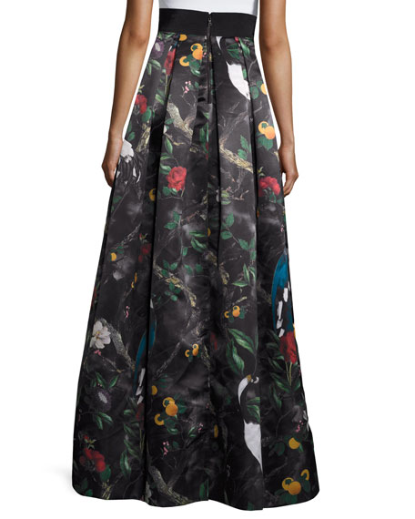 Pleated Floral Ball Skirt, Charmed Forest