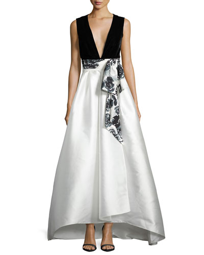 Sleeveless Velvet & Satin Combo Gown, Onyx/Pearl Sale