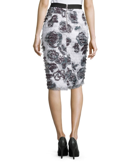 Floral Eyelash Fringe Pencil Skirt, Onyx/Pearl