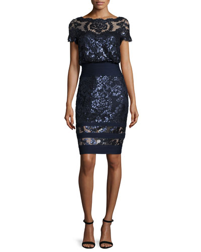 Short-Sleeve Sequined Lace Blouse Dress