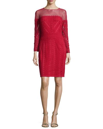 Paneled Lace Illusion Sheath Dress, Red Rock