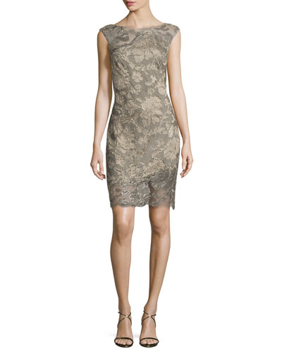 Lace-Overlay Cocktail Dress, Pearl/Smoke