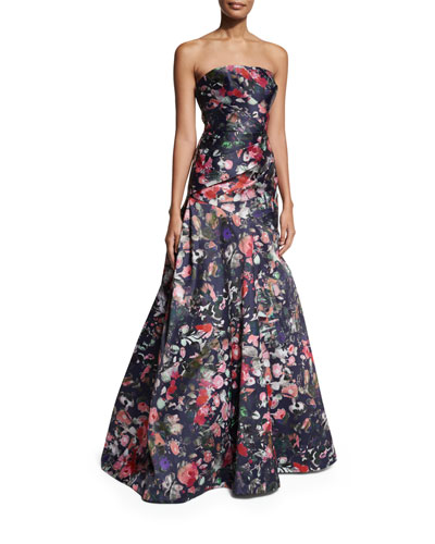 Strapless Floral Mikado Ball Gown, Midnight/Multicolor