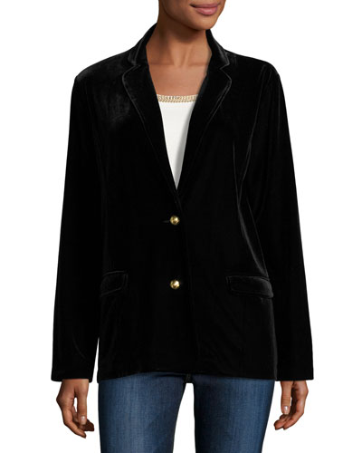 Velvet Two-Button Blazer, Black