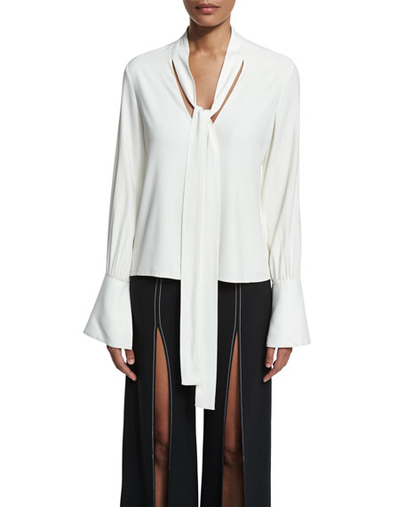 Alexis Diana Bell-Sleeve Tie-Neck Blouse, White
