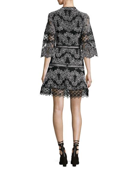 Karina Embroidered 3/4-Sleeve Dress