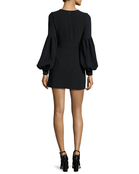 Ellena Bishop-Sleeve Minidress, Black