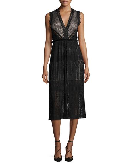 Alexis Bryana Sleeveless Plisse Lace Midi Dress, Black