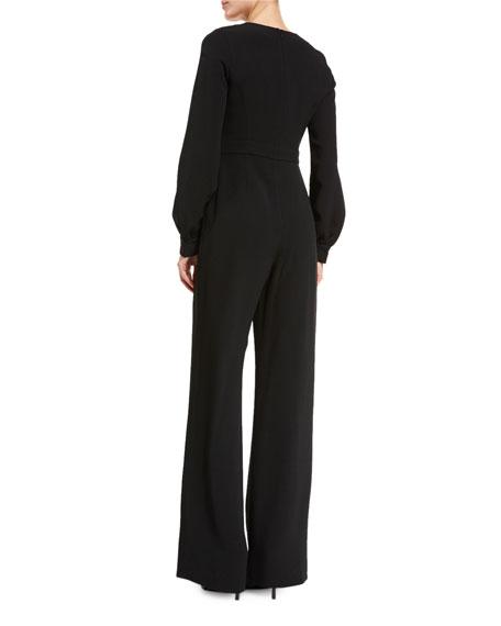 Isadore Bishop-Sleeve Wide-Leg Jumpsuit, Black