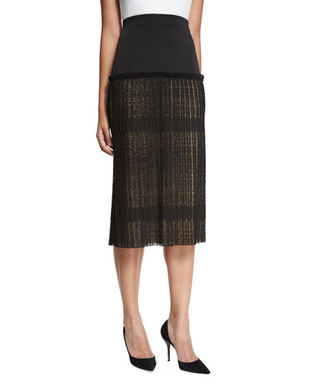Alexis Alysa High-Rise Paneled Plisse Lace Midi Skirt,