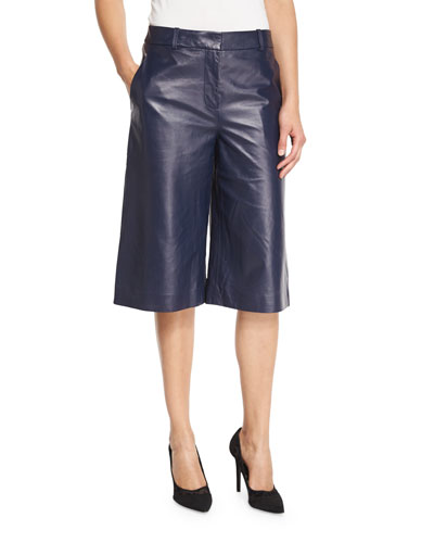 Asheton Leather Culotte Pants, Midnight
