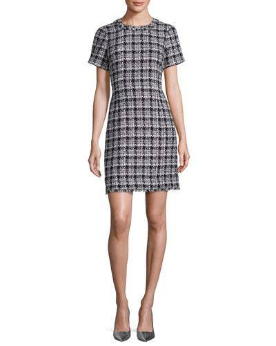 short-sleeve plaid tweed dress, black/gray