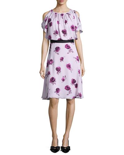 silk chiffon encore rose dress, plum dawn