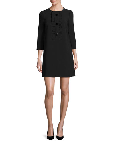 3/4-sleeve sponge crepe ruffle-trim shift dress, black