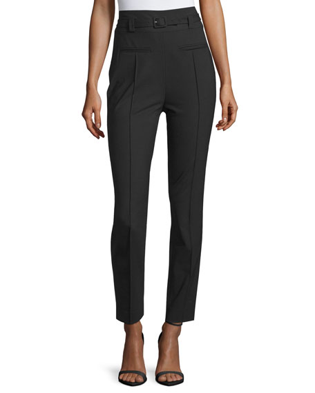 Diane von Furstenberg Blysse High-Waist Belted Pants, Black