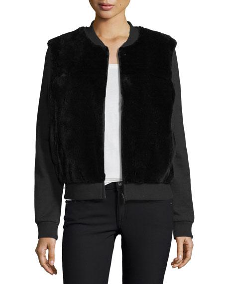 Diane von Furstenberg Dylin Fur & Knit Jacket, Black