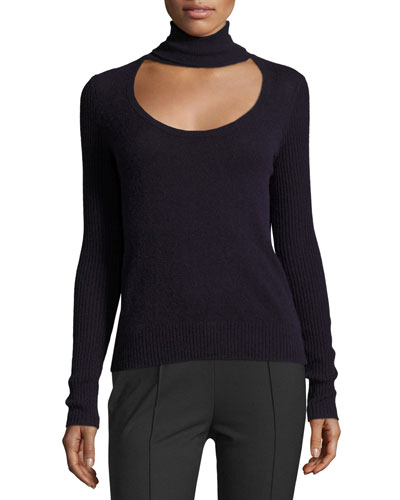 Gracey Cutout Turtleneck Sweater, Royal Navy