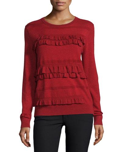 Benni Crewneck Ruffle-Trim Wool-Blend Sweater, Rubiate