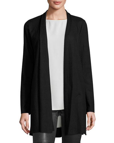Fisher Project Boiled Wool Long Kimono Cardigan, Black