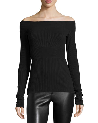 As If Off-the-Shoulder Ribbed Top, Black