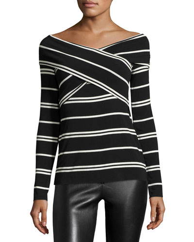 Tyler Striped Wrap-Front Top, Black/Natural