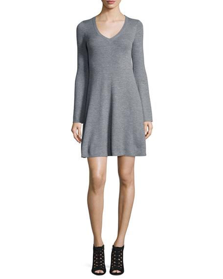 BCBGMAXAZRIA Althea Merino Wool V-Neck Sweater Dress