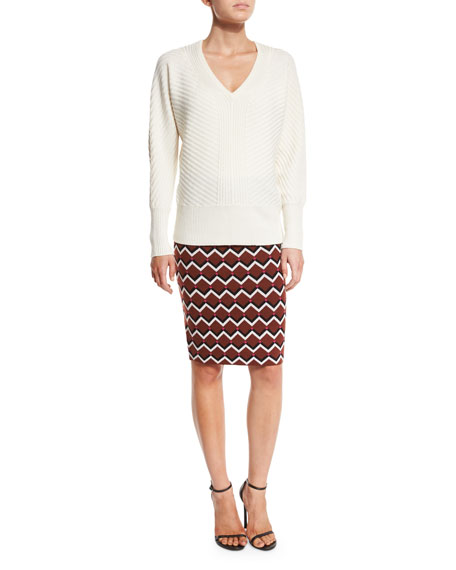 Geometric High-Waist Pencil Skirt, Multicolor