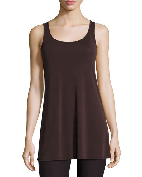 Eileen Fisher Jersey Sleeveless Scoop-Neck Tunic, Clove, Plus
