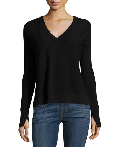 Taylor Merino Wool V-Neck Sweater, Black
