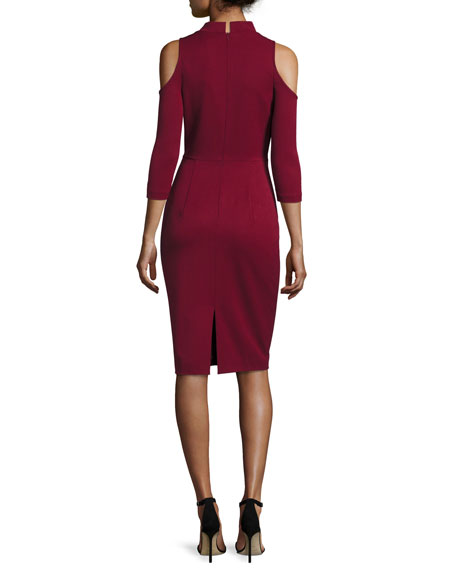 Cold-Shoulder Ponte Sheath Dress, Mulberry