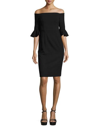 Off-the-Shoulder Ponte Sheath Dress, Black