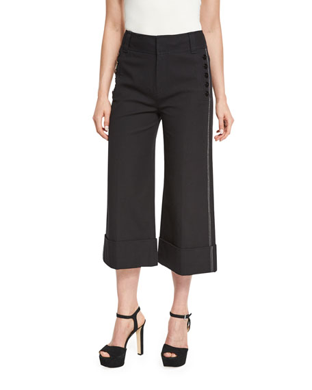 Derek Lam 10 Crosby Wide-Cuff Cotton-Blend Culottes, Black