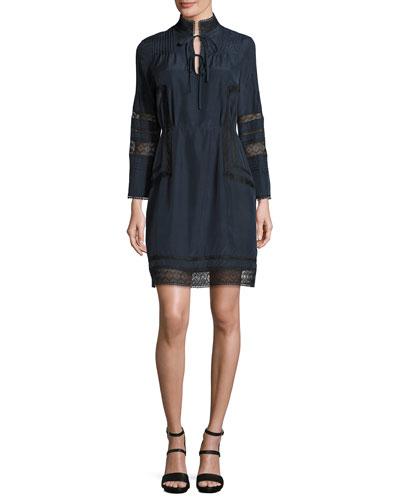 Pintucked Silk Lace-Trim Dress, Midnight