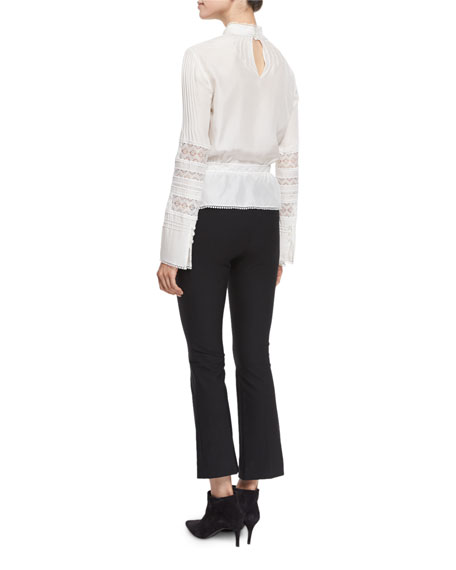 Pintucked Silk Lace-Trim Blouse, Soft White