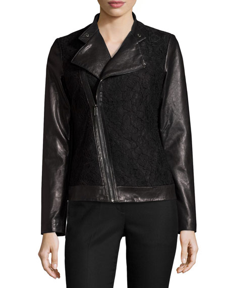 Lace-Panel Leather Moto Jacket, Black Reviews