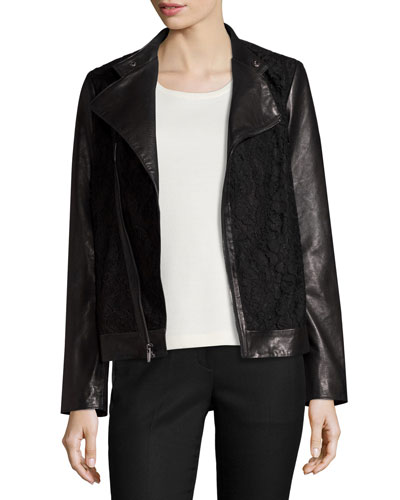Lace-Panel Leather Moto Jacket, Black