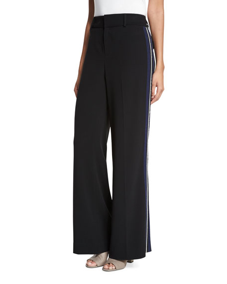 Derek Lam 10 Crosby Crepe Wide-Leg Side-Stripe Trousers,