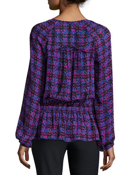 Long-Sleeve Printed Silk Blouse, Cobalt/Multicolor