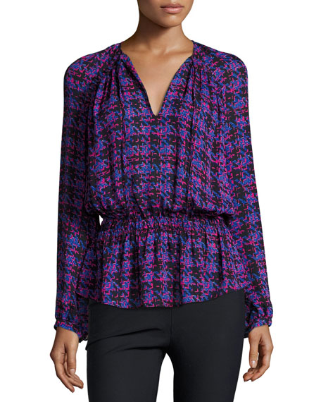 Derek Lam 10 Crosby Long-Sleeve Printed Silk Blouse,