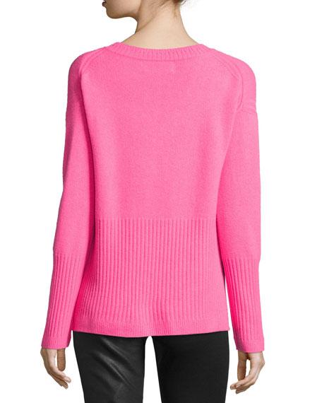 Ribbed-Trim Cashmere V-Neck Sweater