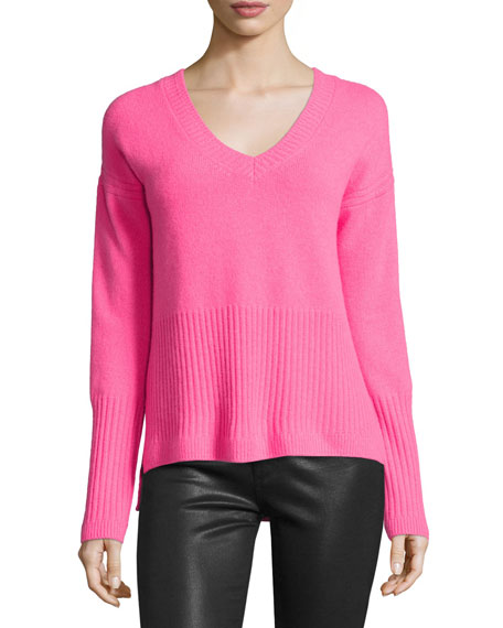 10 Crosby Derek Lam Ribbed-Trim Cashmere V-Neck Sweater, Shocking Pink