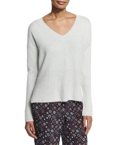Ribbed-Trim Cashmere V-Neck Sweater, Foggy