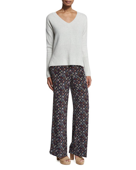 Derek Lam 10 Crosby Floral Tile Wide-Leg Trousers, Midnight/Multicolor