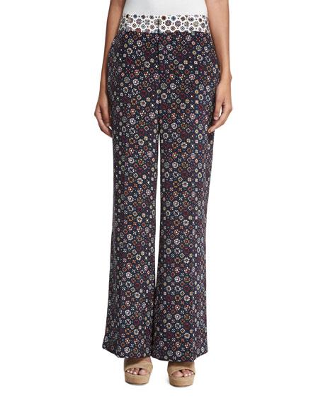 Derek Lam 10 Crosby Floral Tile Wide-Leg Trousers,
