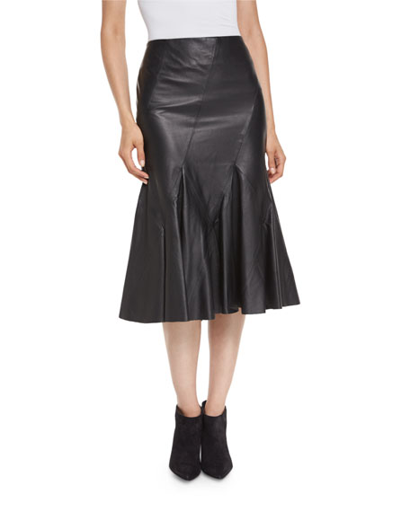Derek Lam 10 Crosby Flared Leather Godet Midi