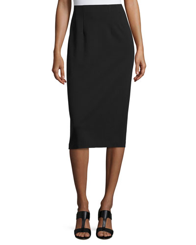High-Waist Ponte Pencil Midi Skirt, Black, Petite