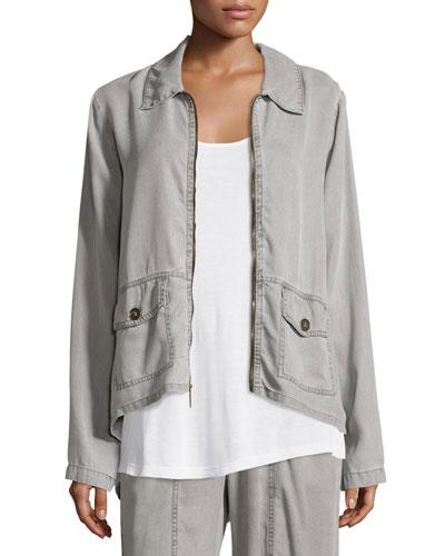Alessandra Zip-Front Twill Jacket
