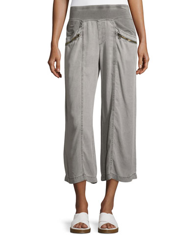 Haruko Cropped Tencel® Pants, Rock Pigment, Plus Size